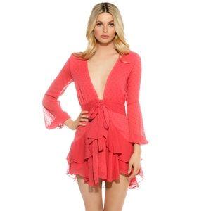 For Love And Lemons Coral Flamingo Ruffle Dress